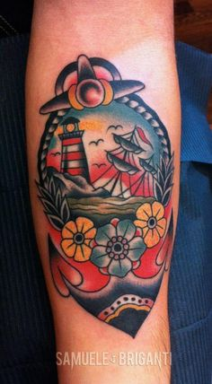 tattoo old school / traditional nautic ink - last port lighthouse with anchor