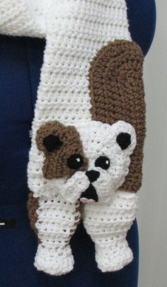 Bull Dog Scarf Crochet Pattern by DonnasCrochetDesigns on Etsy
