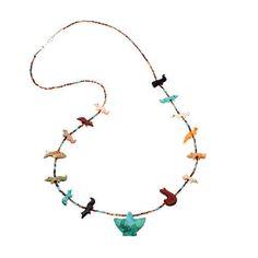 Collier Fétiches, animaux scupltés en Multi-pierres, fermoir en argent.   Harpo Paris #nativeamerican #collierturquoise #navajo #pueblo #zuni