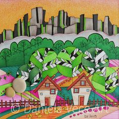 Mountain landscape with houses, trees, clouds and stones. Old woman's teeth is the name of a mountain above Lugano. Mario Characters, Markers, Painting, Old Women, Clouds, Art