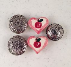 Vintage Button Covers Three Silver and Black Metal Covers and Two Ceramic Heart Shaped with Apples Covers by Oldtonewjewels on Etsy