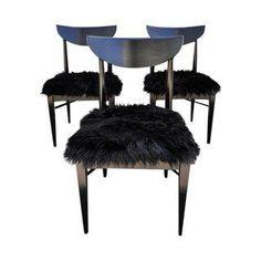 Mid-Century Modern Fur Chairs - Set of 3