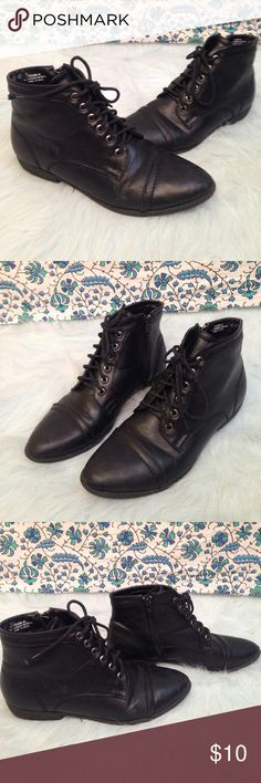 "Rouge Black Faux Leather Grunge Booties Gently used. Minimal scuffing and wear and tear on the soles. Size 8 1/2. 1"" heel. Made in China. Rouge Helium Shoes Ankle Boots & Booties"