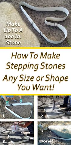 Stepping Stone Maker Learn How To Make Stepping Stones Any Size or Shape You Want! Easy As No Mixing of Concrete! Rocka Design™ is the only Stepping Stone Maker that is an 8 ft. flexible reusable form that let's you create your own custom designed s Diy Garden, Shade Garden, Garden Tips, Fast Setting Concrete, Stepping Stone Walkways, Diy Stepping Stones, Concrete Stepping Stone Molds, Decorative Stepping Stones, Decorative Gravel