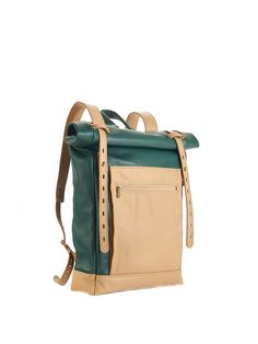 Green and beige leather backpack. Green leather backpack. Leather backpack. Roll top rucksack. Hipster backpack.  Ready to ship. by InnesBags on Etsy https://www.etsy.com/listing/239128334/green-and-beige-leather-backpack-green