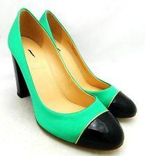 JCREW Etta Cap Toe Satin Pumps $268 5 Platform faded jade Shoes