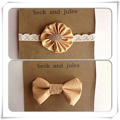 Boys/Girls matching bow tie and headband set. This is for a tan polka dot patterned clip on bow tie and the same fabric for the yo yo flower on the