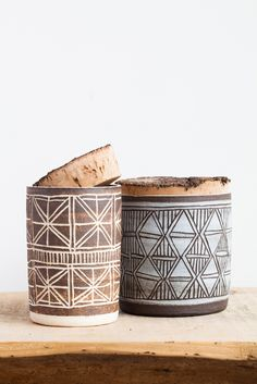 April Napier Ceramic Triangles Canister with Cork | Beautiful Dreamers