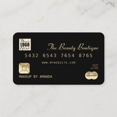 Elegant Chic Black Gold Luxury Credit Card Logo Luxury Business Cards, Salon Business Cards, Hairstylist Business Cards, Makeup Artist Business Cards, Elegant Business Cards, Unique Business Cards, Professional Business Cards, Business Logo, Business Card Design