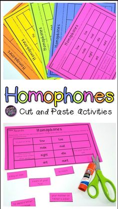 These cut and paste homophone activities are great worksheets for literacy centers, an interactive notebook, or a quick assessment in or grade! Homonyms Activities, Classroom Activities, Learning Activities, Teaching Ideas, Teaching Vocabulary, Teaching Phonics, Teaching Second Grade, Third Grade, Handwriting Practice Paper