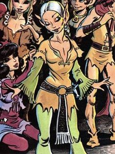 Clearbrook as they leave Sorrow's End to search for Cutter and Skywise.  These green bell sleeves, they are stitched to the brown tunic, I am believing?  That belt, by the way, looks to me like it has a tooled design on it.