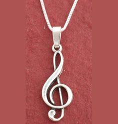 Nota de música de collar plata esterlina Treble Clef 925 por Juzii