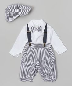 Loving this Fouger for Kids Charcoal & White Stripe Suspender Set - Infant on #zulily! #zulilyfinds