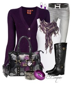 """Purple Cardigan & Jewelry"" by ccroquer ❤ liked on Polyvore featuring See by Chloé, Tory Burch, Splendid, Dorothy Perkins, Hermès, Breil and Wallis"