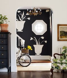 H&H designers Morgan Michener and Stacey Smithers created this pretty accent wall using a combination of Farrow & Ball's Off-Black and Slipper Satin Whimsical Kitchen, Painting Lamp Shades, Interior Decorating, Interior Design, Decorating Ideas, Love Your Home, Black Walls, Wall Treatments, Easy Diy Projects