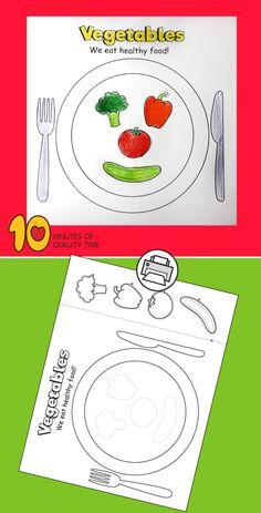 Color Worksheets For Preschool, Cut And Paste Worksheets, Activities For Kids, Healthy Foods To Eat, Healthy Recipes, Vegetable Crafts, Easy Arts And Crafts, Camping Crafts, Quality Time