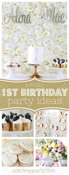 Fall in love with this gorgeous Angel themed 1st birthday party. The donut wall is so cool!! See more party ideas and share yours at CatchMyParty.com