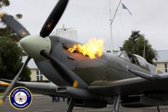 Supermarine Spitfire living up to it's name on start up at Warbirds Over Wanaka, New Zealand, 2012.