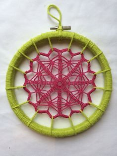 Daydreamer  Doily Wall Art in Hot Pink & Citron by 5andTin on Etsy