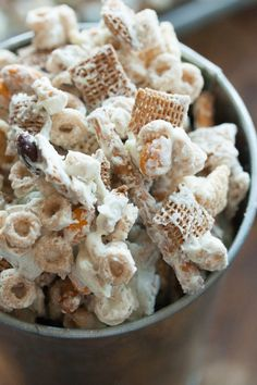 "Halloween Chex Mix  I've made this for years without the mm's and call it ""White Trash""  I use one giant bar white almond bark per 12 cups of anything mixed."