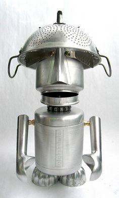 Comet 444- Found Object Robot Assemblage Sculpture