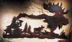 Northwoods Lodge Decor   Northwoods Cabin Moose Metal Wall Art Pine Tree Woodland Lodge Decor