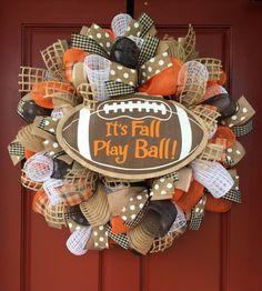 its fall play ball Fall wreath football by adoorablewreathdesig