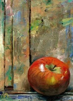 """Daily Paintworks - """"An Apple on the Easel"""" by Nigel Fletcher"""