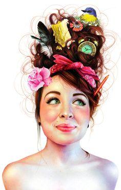 illustrations of girls - Artist and Tumblr user Morgan Davidson creates colorful surrealist style illustrations of girls. Davidson's peculiar female portraits focus m...