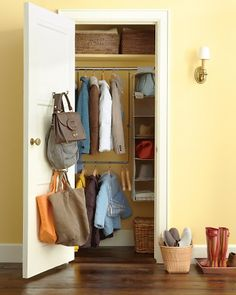 Smart Closet Storage - organizing ideas for the entry way!