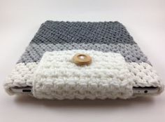 Hand Crocheted Ipad Sleeve / Cover / Case in Grey by TheCheeryEwe, $14.00