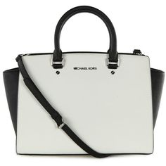 Michael Kors Women's Selma Colour Block Black & White Leather Tote Bag found on Polyvore
