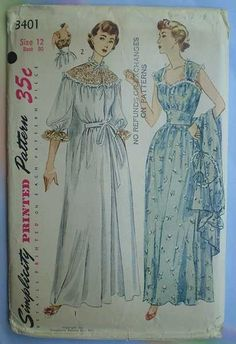 1950s nightgown pattern