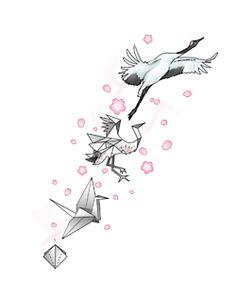 Paper Crane Tattoo Tumblr I dont think I'd do a crane, but still a cute idea