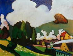 Afbeelding Wassily Kandinsky - Landscape with Locomotive Franz Marc, Abstract Landscape, Landscape Paintings, Abstract Art, Landscapes, Abstract Expressionism, Cavalier Bleu, New York Exhibitions, Wassily Kandinsky Paintings