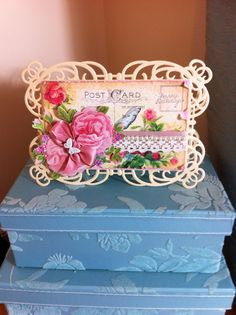 Tattered Lace Charisma rose on printed post cards