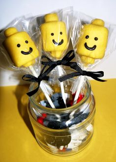 Lego Head Chocolate Covered Marshmallow Pops Edible Boys Girls Birthday Favor Kids Lego Party Favor. $15.00, via Etsy.