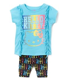 Blue Hello Kitty Fringe Tee & Bike Shorts - Toddler & Girls