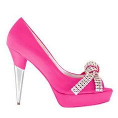 Pretty pink shoes. Love love love. Silver heel and bedazzled toe
