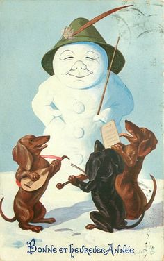 snowman in green hat conducts three dachsunds playing instruments & singing