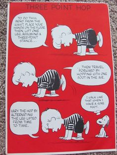Items similar to Vintage Peanuts Exercise Poster 10 x 15 - Three Point Hop on Etsy