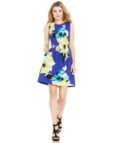 Vince Camuto Floral-Print Pleated Scuba Dress
