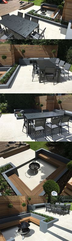 We're loving this gorgeous patio and garden seating area created using Valverdi porcelain tiles by Woods Landscaping