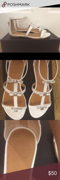 White Marc Jacobs Sandals Super cute Marc by Marc Jacobs white sandals with bow details!!! Only been worn out once and in excellent condition! Size 5. Marc By Marc Jacobs Shoes Sandals