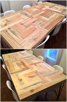 tables pallet dining table made with pallets wood - A house renovation is incomplete without having the proper arrangement of the wooden furniture items. But what type of furniture will suit to your lounge. Pallet Dining Table, Wood Table, Reclaimed Wood Furniture, Home Furniture, Business Furniture, Outdoor Furniture, Diy Pallet Projects, Woodworking Projects, Woodworking Store