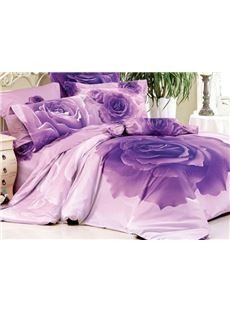 New Arrival Luxurious Purple Rose Print 4 Piece Bedding Sets