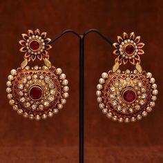 Anvi's gorgeous rubies, polki pearl ear danglers