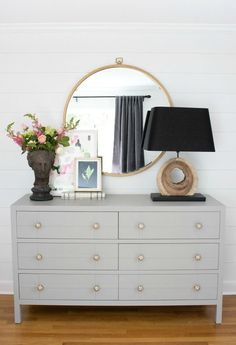 Love this One Room Challenge master bedroom makeover! Shiplap walls, painted dresser, large round mirror, and layered art! Dream Bedroom, Home Bedroom, Master Bedroom, Bedroom Decor, Bedrooms, Bedroom Dresser With Mirror, Night Lamp For Bedroom, Bedroom Dresser Styling, Mirror Headboard