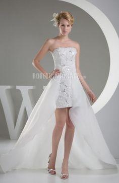 Sans bretelle robe de mariée civile satin traîne watteau amovible