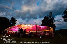 Sunset sailcloth tent design by Seitel Lighting LLC Wedding Tent Lighting, Tent Wedding, Great Barrington, Tent Design, Sailing Outfit, August Wedding, One Drop, Window Wall, Tents